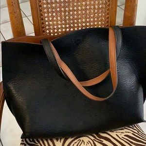Street Level reversible large tote faux leather